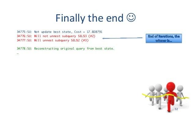 FinallytheendJ 34775:SU: Not update best state, Cost = 17.020791 34776:SU: Will not unnest subquery SEL$3 (#2) 34777:SU...