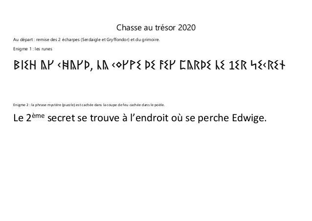Chasse au trésor 2020 Au départ : remise des 2 écharpes (Serdaigle et Gryffondor) et du grimoire. Enigme 1 : les runes ᛒᛁᛊ...