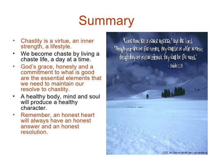 Importance of living a chaste life