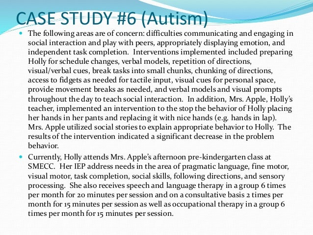cdc autism case studies (cdc) to make recommendations for  498 cases of autism (261 of core autism, 166 of atypical autism,  a case control study of 155 persons with.