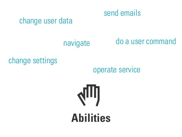 Abilities change user data change settings send emails do a user command operate service navigate