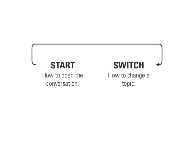 START How to open the conversation. SWITCH How to change a topic.