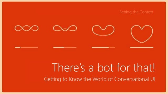Getting to Know the World of Conversational UI There's a bot for that! Setting the Context