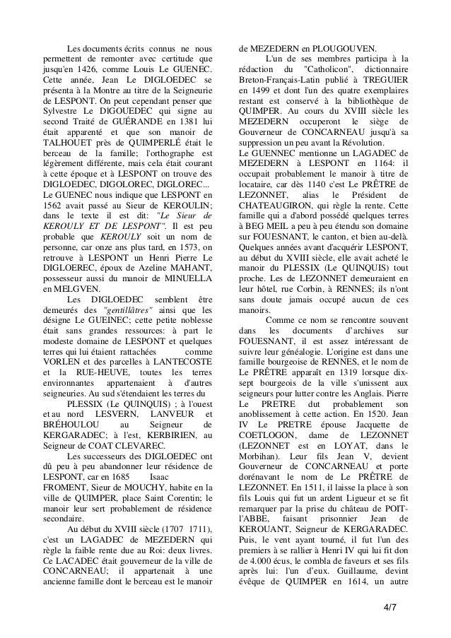 Les documents écrits connus ne nous permettent de remonter avec certitude que jusqu'en 1426, comme Louis Le GUENEC. Cette ...