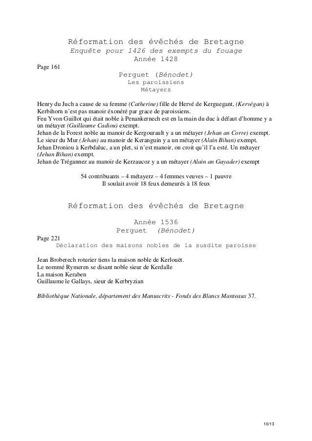 Réformation des évêchés de Bretagne Enquête pour 1426 des exempts du fouage Année 1428 Page 161  Perguet (Bénodet) Les par...