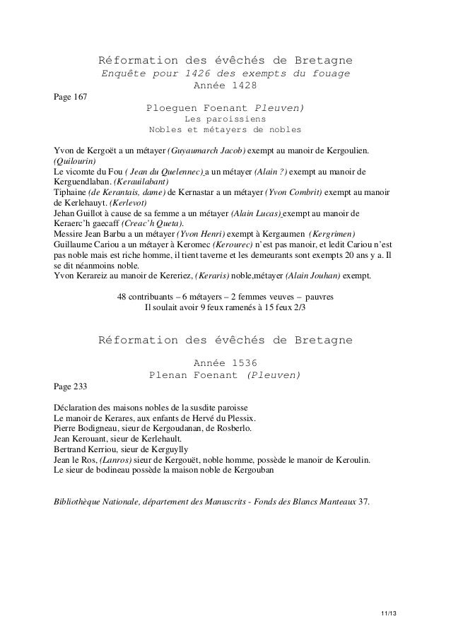 Réformation des évêchés de Bretagne Enquête pour 1426 des exempts du fouage Année 1428 Page 167  Ploeguen Foenant Pleuven)...