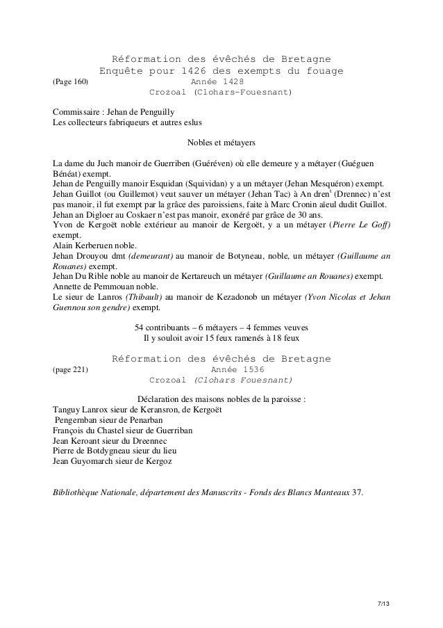 Réformation des évêchés de Bretagne Enquête pour 1426 des exempts du fouage (Page 160)  Année 1428 Crozoal (Clohars-Fouesn...