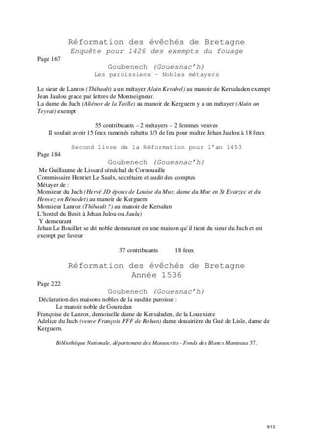 Réformation des évêchés de Bretagne Enquête pour 1426 des exempts du fouage Page 167  Goubenech (Gouesnac'h) Les paroissie...