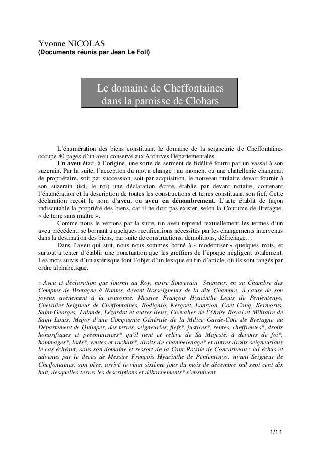 Yvonne NICOLAS (Documents réunis par Jean Le Foll)  Le domaine de Cheffontaines dans la paroisse de Clohars  L'énumération...