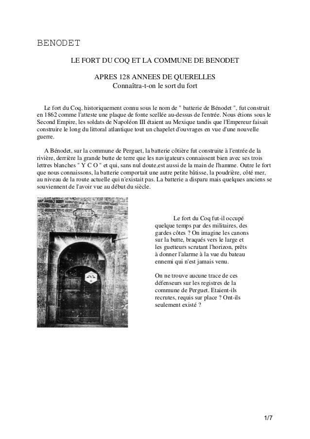 BENODET LE FORT DU COQ ET LA COMMUNE DE BENODET APRES 128 ANNEES DE QUERELLES Connaîtra-t-on le sort du fort Le fort du Co...