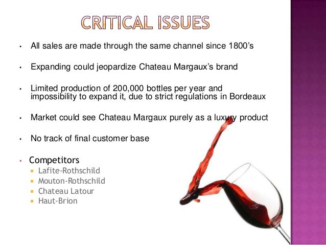 chateau margaux distribution Here is the note on chateau margaux:  the wines do not enjoy sufficient  distribution among critical consumers either inside or outside italy to.