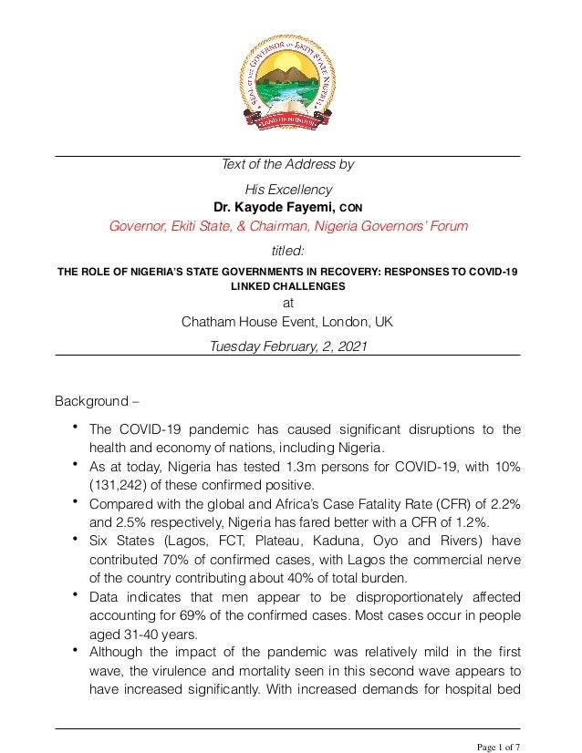 Text of the Address by His Excellency Dr. Kayode Fayemi, CON Governor, Ekiti State, & Chairman, Nigeria Governors' Forum t...
