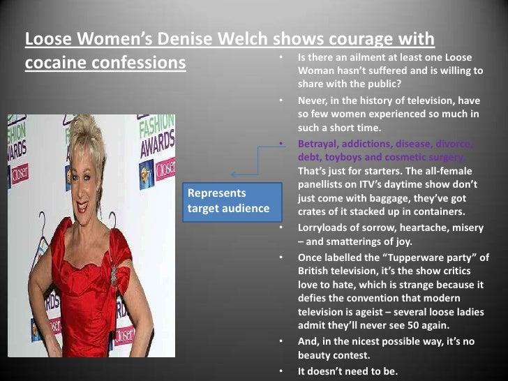 Loose Women's Denise Welch shows courage with cocaine confessions<br />Is there an ailment at least one Loose Woman hasn't...