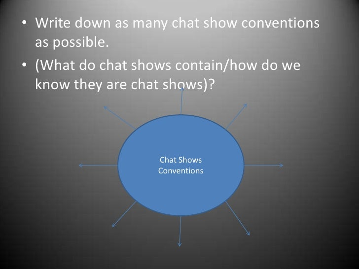 Write down as many chat show conventions as possible.<br />(What do chat shows contain/how do we know they are chat shows)...