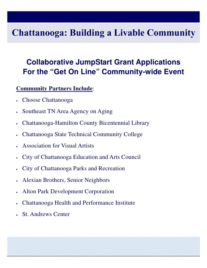 """Chattanooga: Building a Livable Community   Collaborative JumpStart Grant Applications  For the """"Get On Line"""" Community-wi..."""