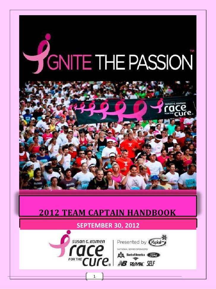 2012 TEAM CAPTAIN HANDBOOK       SEPTEMBER 30, 2012           1
