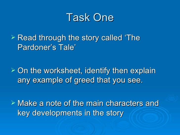 Pardoner s tale greed essays