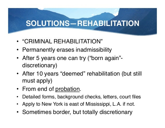 """SOLUTIONS—TRP! • • • •  Temporary Resident Permit"""" If under 5 years since end of probation"""" HIGHLY discretionary"""" One-..."""