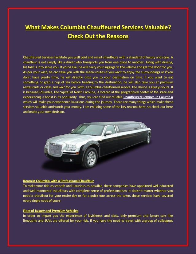 Chauffeured Services Columbia