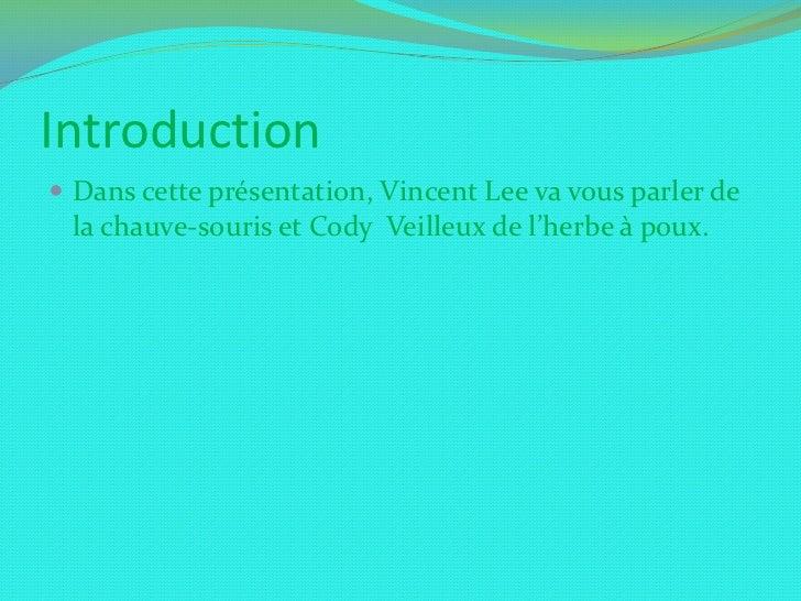 Introduction<br />Dans cette présentation, Vincent Lee va vous parler de la chauve-souris et Cody  Veilleux de l'herbe à p...