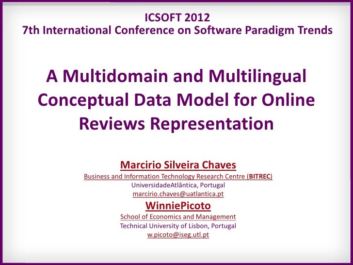 ICSOFT 20127th International Conference on Software Paradigm Trends   A Multidomain and Multilingual  Conceptual Data Mode...