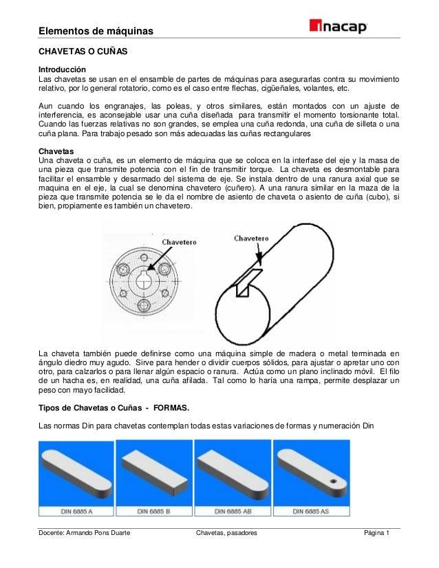 Elementos de máquinas Docente: Armando Pons Duarte Chavetas, pasadores Página 1 CHAVETAS O CUÑAS Introducción Las chavetas...