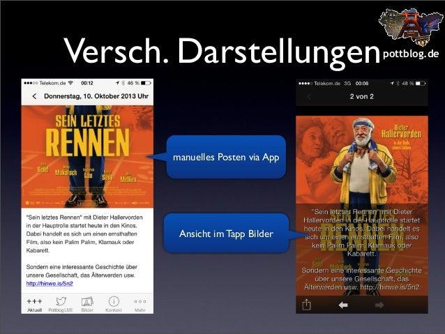 Versch. Darstellungen manuelles Posten via App  Ansicht im Tapp Bilder  pottblog.de