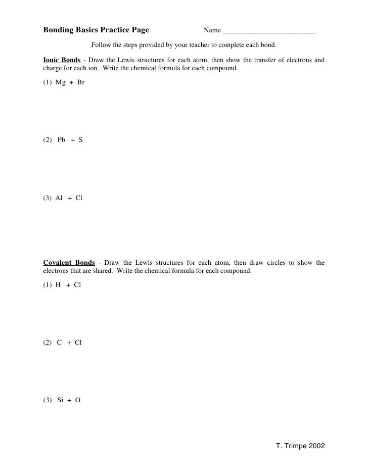 Bonding Basics Practice Page                          Name __________________________                Follow the steps prov...