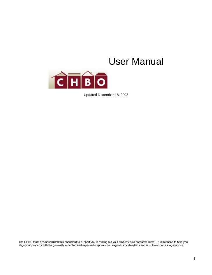 User Manual                                                    Updated December 18, 2008The CHBO team has assembled this d...