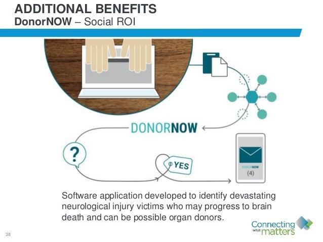 38 ADDITIONAL BENEFITS DonorNOW – Social ROI Software application developed to identify devastating neurological injury vi...