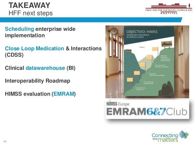 44 Scheduling enterprise wide implementation Close Loop Medication & Interactions (CDSS) Clinical datawarehouse (BI) Inter...