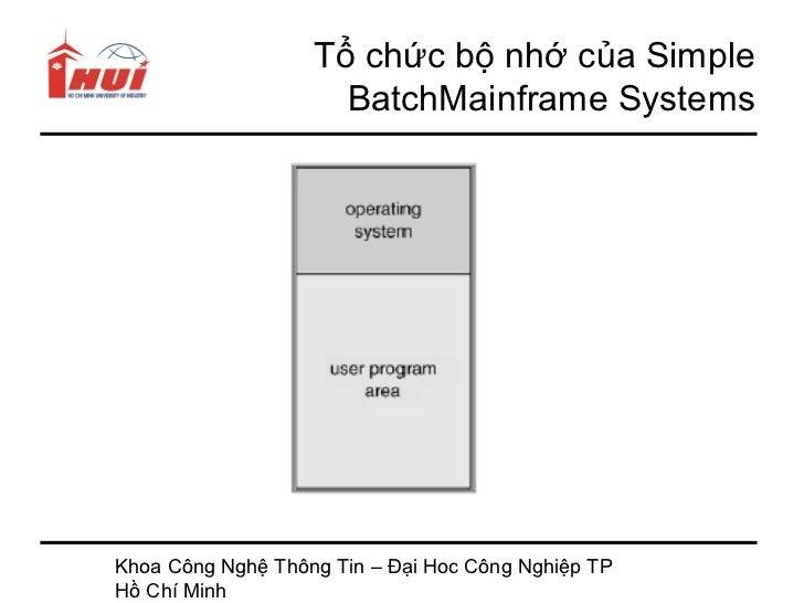 Tổ chức bộ nhớ của Simple                     BatchMainframe SystemsKhoa Công Nghệ Thông Tin – Đại Hoc Công Nghiệp TPHồ Ch...