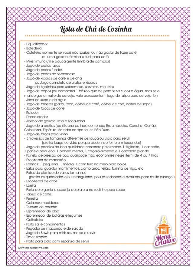 Fabuloso Lista para Chá cozinha YR03