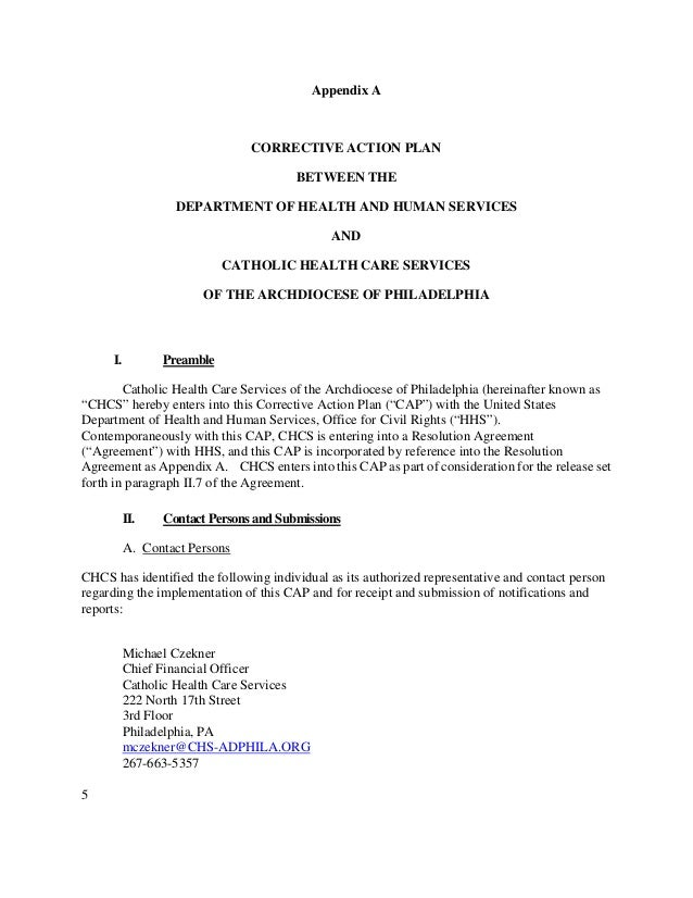 Catholic Health Care Services Resolution Agreement And Corrective Act