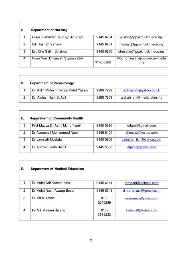 C.    Department of Nursing 1.    Puan Gurbinder Kaur a/p Jit Singh       9145 6254    gurbin@ppukm.ukm.edu.my 2.    Cik H...