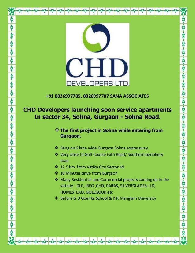 +91 8826997785, 8826997787 SANA ASSOCIATES  CHD Developers launching soon service apartments In sector 34, Sohna, Gurgaon ...