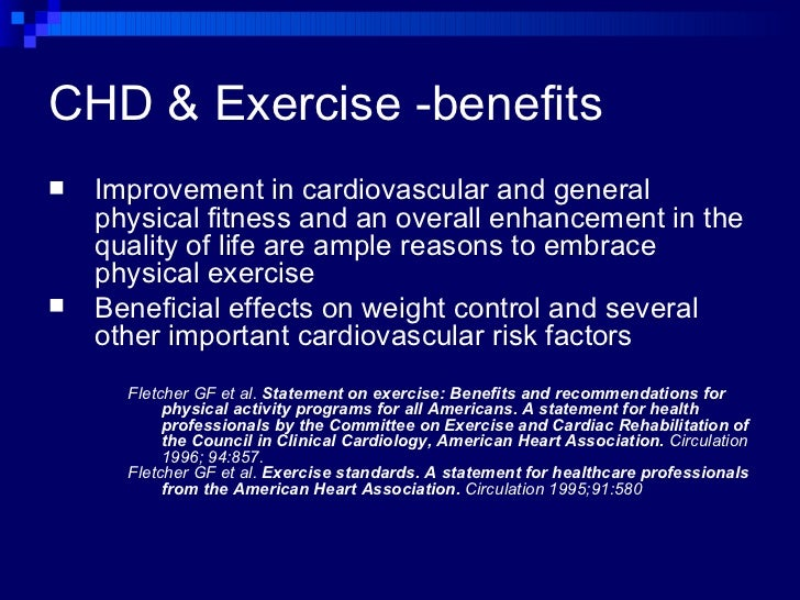 Coronary Heart Disease and Exercise: What's the evidence?