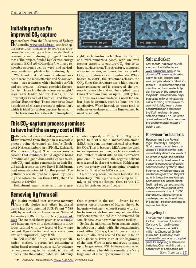 C hementato RImitating nature forimproved CO2 captureR  esearchers from the University of Sydney   (Australia; www.usyd.ed...