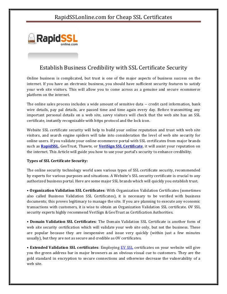 Why Cheap Ssl Certificates Security For Small Business Websites Rapi