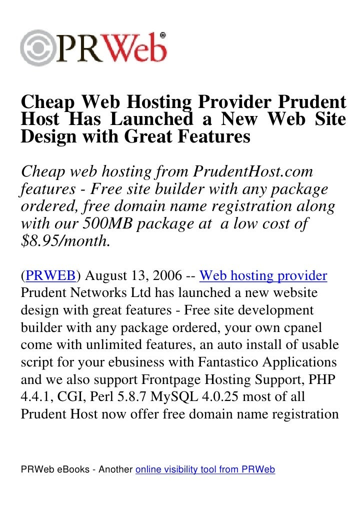 Cheap Web Hosting Provider Prudent Host Has Launched a New Web Site Design with Great Features Cheap web hosting from Prud...