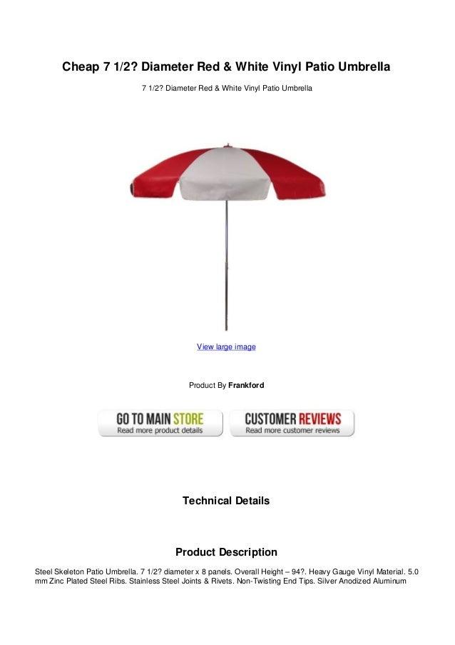 Cheap 7 12 Diameter Red White Vinyl Patio Umbrella
