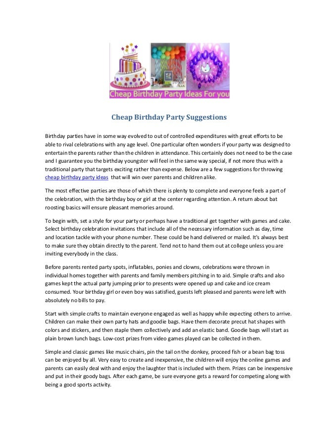 cheap birthday party suggestions