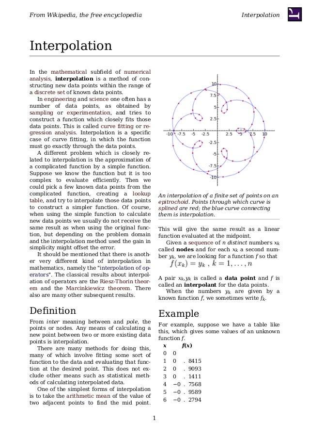 From Wikipedia, the free encyclopedia                                                   InterpolationInterpolationIn the m...