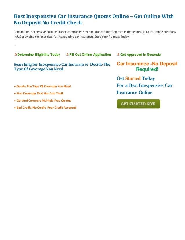 Cheap Car Insurance No Deposit