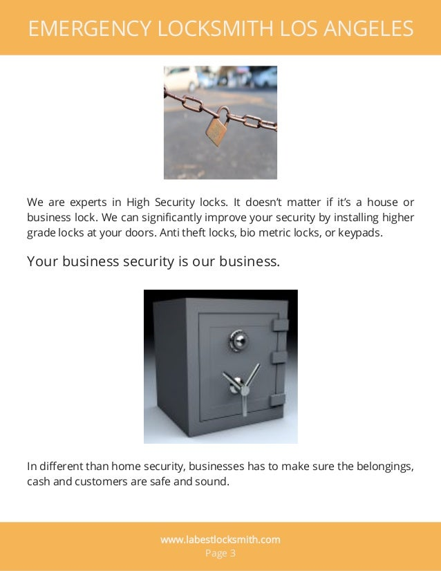 EMERGENCY LOCKSMITH LOS ANGELES We are experts in High Security locks. It doesn't matter if it's a house or business lock....