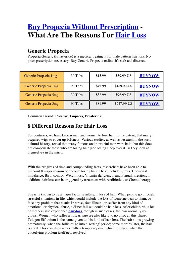 Buy Propecia Without Prescription -  What Are The Reasons For Hair Loss  Generic Propecia  Propecia Generic (Finasteride) ...