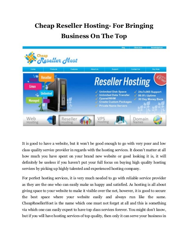 cheap reseller hosting for bringing business on the top