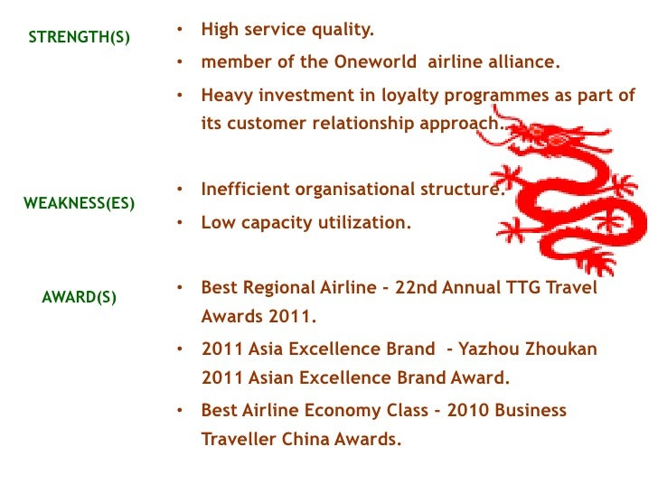 cathay pacific weakness and strength Swot analysis of cathay pacific  using swot analysis, cathay pacific aspires to be a leader and will help to share future policies that affect the aviation industry by working with government and its partners as the strength.