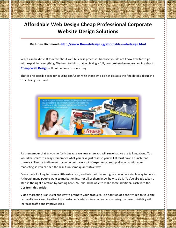 Affordable Web Design Cheap Professional Corporate               Website Design Solutions_________________________________...