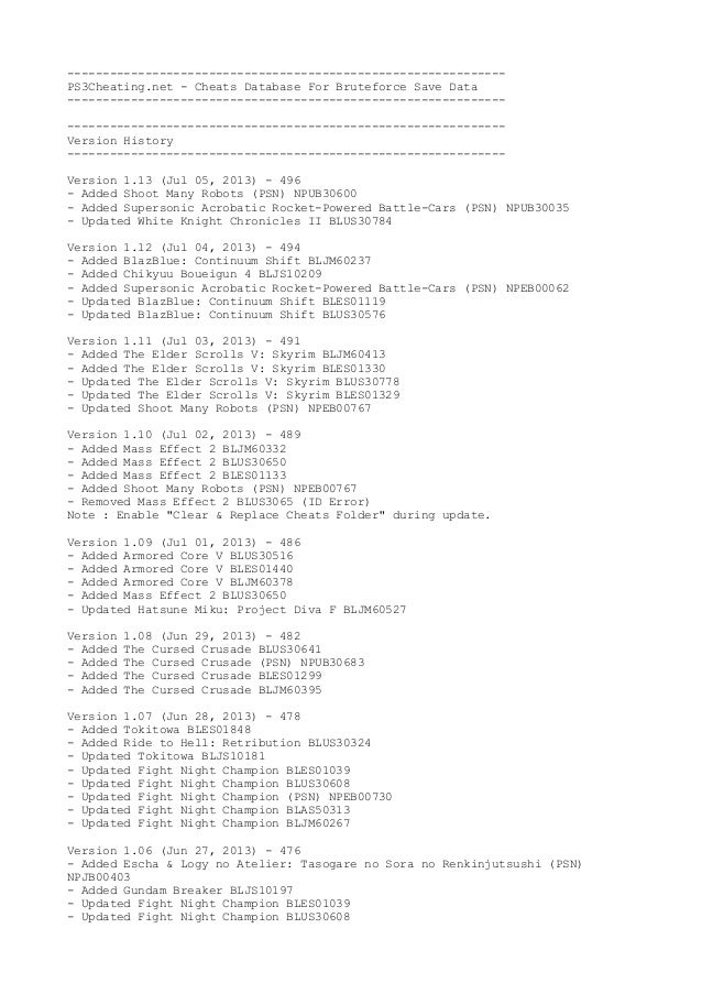 -------------------------------------------------------------- PS3Cheating.net - Cheats Database For Bruteforce Save Data ...